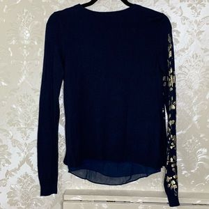 Lucky Brand Sweaters - Lucky Brand Gold Foil Leaf Print Layered Sweater